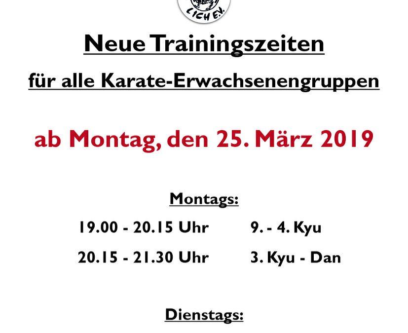 Neue Trainingszeiten ab 25. März